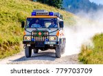 "BAD TOELZ, GERMANY - AUGUST 7: typical cars of the german mountain rescue organisation called ""Bergwacht"" on August 7 2015 in Bad Toelz - stock photo"
