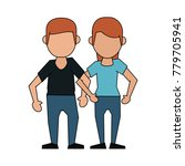 couple faceless avatar cartoon   Shutterstock .eps vector #779705941