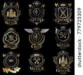 heraldic vector signs decorated ...   Shutterstock .eps vector #779725309
