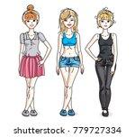 happy young women posing... | Shutterstock .eps vector #779727334