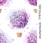 Watercolor Pattern With Purple  ...