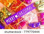 xmas party celebration presents ... | Shutterstock . vector #779770444