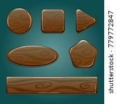 vector wooden icons for mobile... | Shutterstock .eps vector #779772847