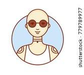 bald girl. avatar. portrait of... | Shutterstock .eps vector #779789977
