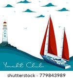 blue sea with yacht and... | Shutterstock .eps vector #779843989