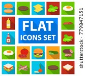 burger and ingredients flat... | Shutterstock .eps vector #779847151