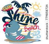 funny cartoon shark surfer on... | Shutterstock .eps vector #779858734