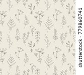 floral hand drawn lines pattern.... | Shutterstock .eps vector #779860741
