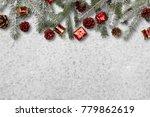 fir branch with christmas... | Shutterstock . vector #779862619