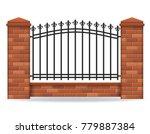 brick fence vector illustration ... | Shutterstock .eps vector #779887384
