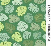 green vector tropical pattern...   Shutterstock .eps vector #779890735