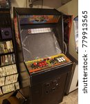 Small photo of New York, New York, United States, August 19 2015, retro video gaming shop, East Manhattan, East Village, vintage game, computer games, games console store
