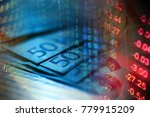 financial data on a monitor.... | Shutterstock . vector #779915209