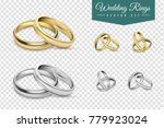 wedding rings set of gold and... | Shutterstock . vector #779923024