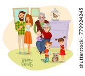 happy family flat template with ...   Shutterstock . vector #779924245