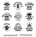 school logos set  monochrome... | Shutterstock . vector #779924257