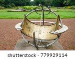 Ancient Sundial In  Garden