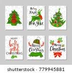 set of retro christmas cards... | Shutterstock .eps vector #779945881