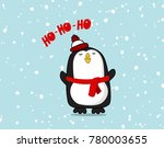vector cute pinguin character.... | Shutterstock .eps vector #780003655
