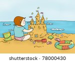 smiling girl plays on the beach....   Shutterstock . vector #78000430