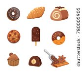 chocolate sweet dessert icons.... | Shutterstock .eps vector #780005905