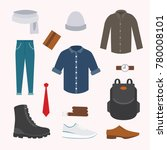 collection of various wear and... | Shutterstock . vector #780008101