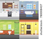 set bathroom interior or... | Shutterstock . vector #780008437