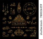 premium golden set of labels ... | Shutterstock .eps vector #780026359