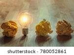 crumpled paper with light bulb... | Shutterstock . vector #780052861
