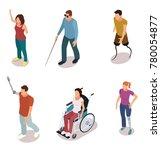 set of disabled people cartoon... | Shutterstock .eps vector #780054877