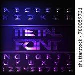 metal alphabet font. chrome... | Shutterstock .eps vector #780059731