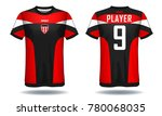soccer jersey template.red and...   Shutterstock .eps vector #780068035