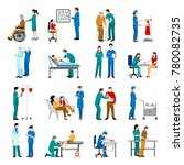 nurse icons set with medical... | Shutterstock . vector #780082735