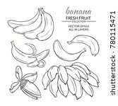 banana fruits vector set on... | Shutterstock .eps vector #780115471
