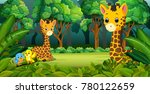 two giraffe in the forest | Shutterstock .eps vector #780122659