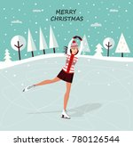 christmas dekoration with girl... | Shutterstock . vector #780126544