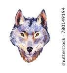 watercolor wolf  portrait of... | Shutterstock . vector #780149194