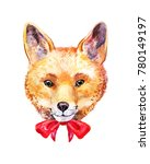 cute watercolor fox. hand drawn ... | Shutterstock . vector #780149197
