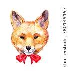 cute watercolor fox. hand drawn ... | Shutterstock . vector #780149197