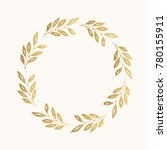 gold floral round frame. vector.... | Shutterstock .eps vector #780155911