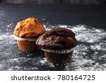 chocolate muffin and nut muffin ... | Shutterstock . vector #780164725