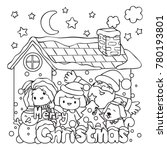 cute kids and santa claus... | Shutterstock .eps vector #780193801