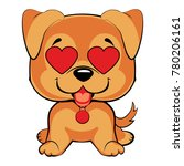 red haired puppy sits and... | Shutterstock .eps vector #780206161