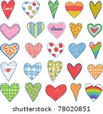 collection of doodles hearts | Shutterstock .eps vector #78020851