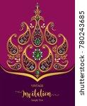 indian wedding invitation card...   Shutterstock .eps vector #780243685