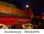 Small photo of NEW YORK CITY - DECEMBER 06 2017: Budweiser's legendary Clydesdales delivered cases of beer to two of Brooklyn's most prodigious consumers of their famous brand.