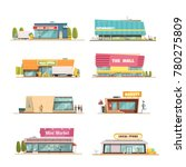 store buildings set with mall... | Shutterstock . vector #780275809
