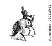 hand sketch rider on horseback. ... | Shutterstock .eps vector #780315991