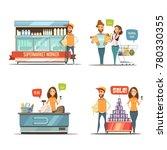 shopping in supermarket retro... | Shutterstock . vector #780330355