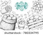 potato vector illustration. box ...